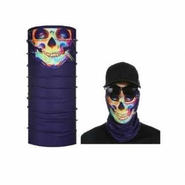 Paars helm biker face masker met gekleurd skelet voor volwassennen