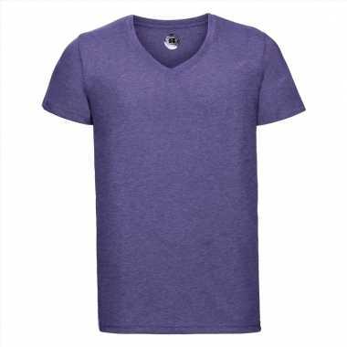 Paars heren t-shirts met v-hals