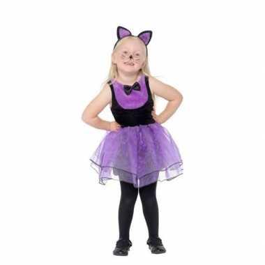 Paars met zwarte kat/poes verkleedkleding voor peuters
