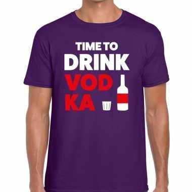 Paars time to drink vodka fun t-shirt voor heren