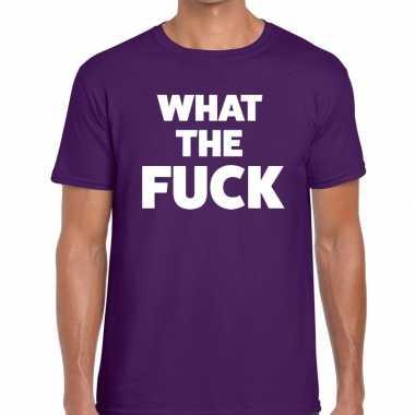 Paars what the fuck fun t-shirt voor heren