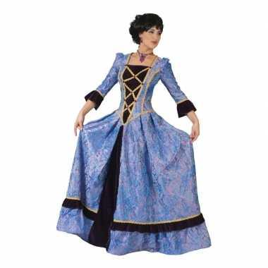 Paars/zwarte hofdame verkleed jurk voor dames