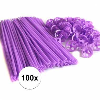 Paarse ballonstokjes 100 stuks