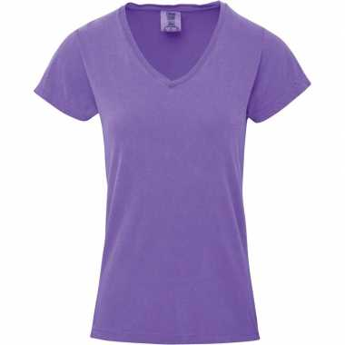 Paarse dames t-shirts met v-hals