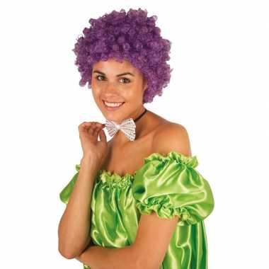 Paarse krullen clownspruik verkleed accessoire