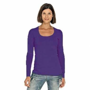 Paarse longsleeve shirt met ronde hals voor dames