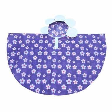Paarse poncho met bloemetjes 52 cm