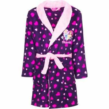 Paarse princess ochtendjas met capuchon voor meisjes