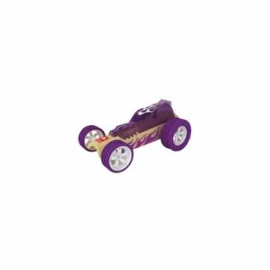 Paarse raceauto bamboe 8 cm