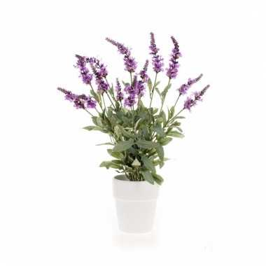 Paarse salvia kunstplant 60 cm in witte pot