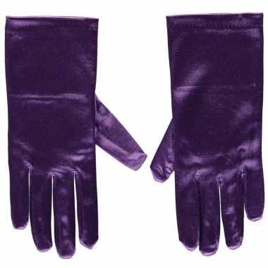 Paarse satijnen verkleed handschoenen 20 cm