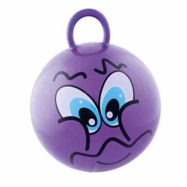 Paarse skippybal met grappig gezicht 45cm