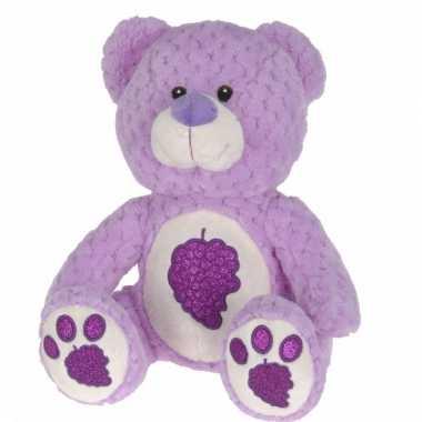 Paarse teddybeer met glitters 25 cm