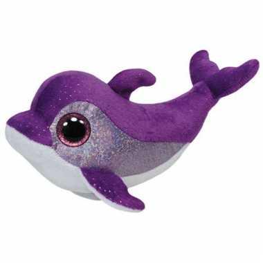 Paarse ty beanie dolfijn knuffels 15 cm