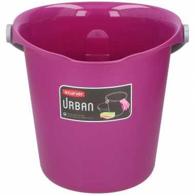 Paarsroze schoonmaakemmer/huishoudemmer 9 liter