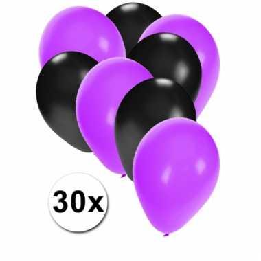 Paarste en zwarte ballonnen 30 stuks
