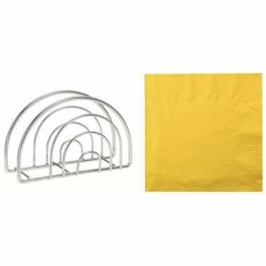 Paas servettenhouder inclusief 20 servetten in de kleur geel