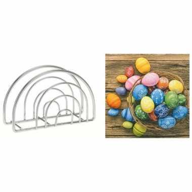 Paas servettenhouder inclusief 20 servetten met paas eieren in mandje