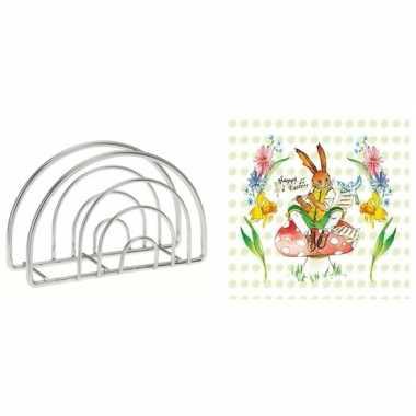 Paas servettenhouder inclusief 20 servetten met paas haas en bloemen