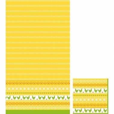 Paasdecoratie set servetten en tafelkleed/tafellaken geel/oranje/groe