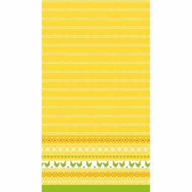 Paasdecoratie tafelkleed/tafellaken 138 x 220 cm geel/oranje/groen me