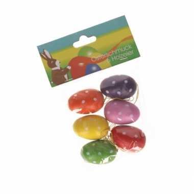 Paaseieren gekleurd met stippen 6 stuks