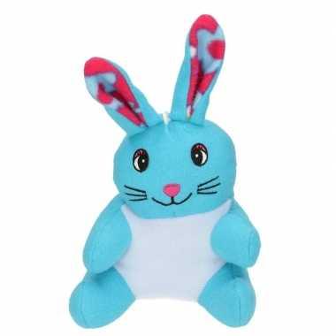 Paashaas knuffel blauw van pluche 23 cm