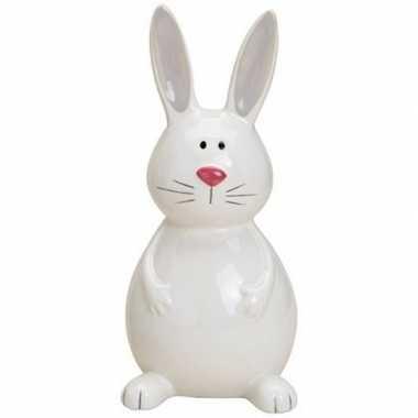 Paashazen/konijnen beeldje zittend wit 18 cm