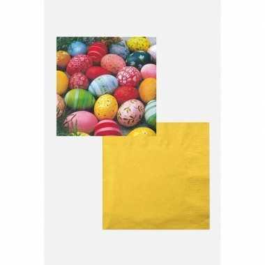 Paasontbijt/paasbrunch tafelversiering wit/geel/gekleurd