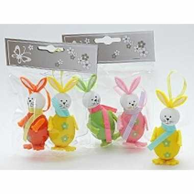 Paastak haasjes/konijnen groen/roze 2 stuks