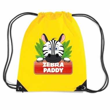Paddy de zebra trekkoord rugzak / gymtas geel voor kinderen