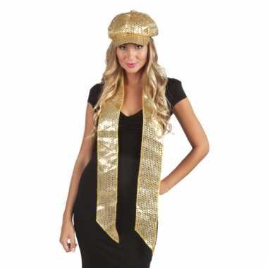 Pailletten sjaal goud