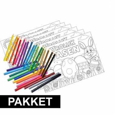 Pakket 12 pasen kleurplaten placemats met stiften en kleurpotloden