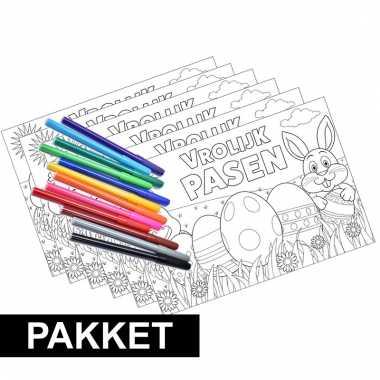 Pakket 6 pasen kleurplaten placemats inclusief stiften