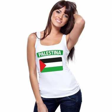 Palestina vlag mouwloos shirt wit dames