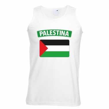 Palestina vlag mouwloos shirt wit heren