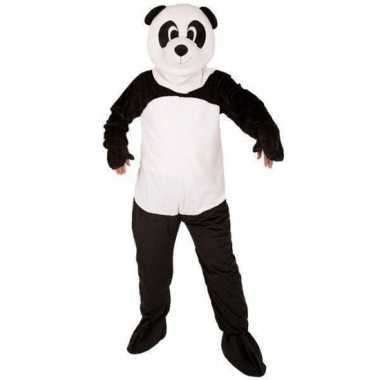 Panda beer kostuum met groot pluche masker