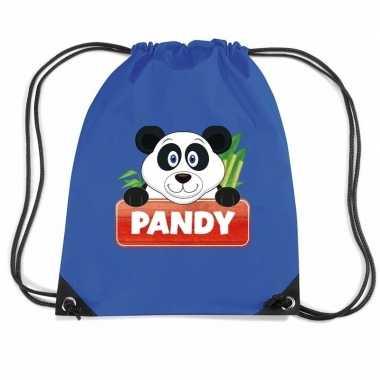 Pandy de panda trekkoord rugzak / gymtas blauw voor kinderen