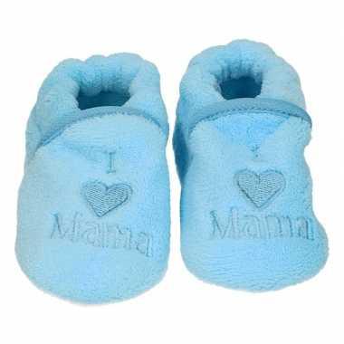 Pantoffels/sloffen love mama blauw voor babies