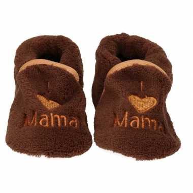 Pantoffels/sloffen love mama bruin voor babies