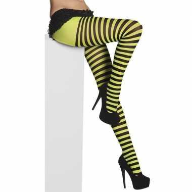 Panty met strepen zwart/groen voor dames