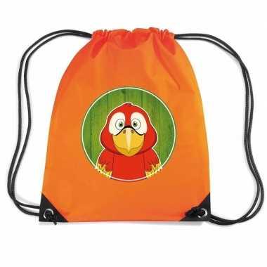 Papegaai dieren trekkoord rugzak / gymtas oranje voor kinderen