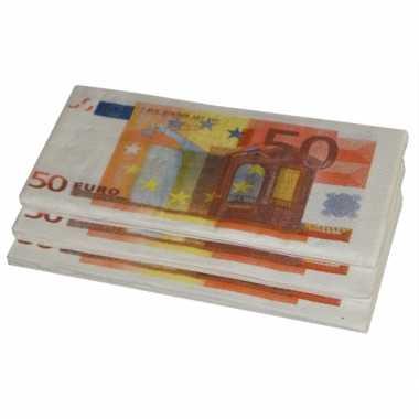 Papieren 50 euro print servetten 10 stuks
