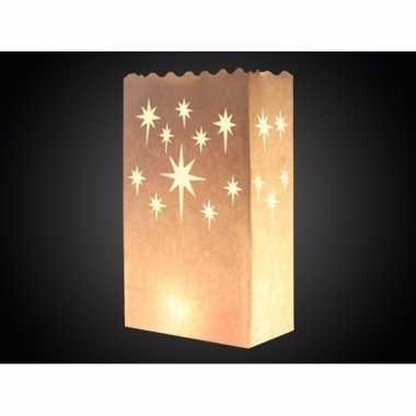 Papieren candle bag met sterren print 26 cm