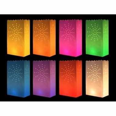 Papieren candle bags gekleurd vuurwerk 10 stuks