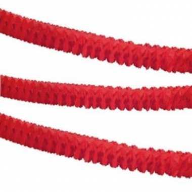 Papieren feest slinger rood 3,6 m