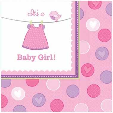 Papieren geboorte servetten its a baby girl