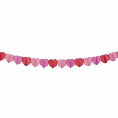 Papieren hartjes slinger rood en roze 4 meter