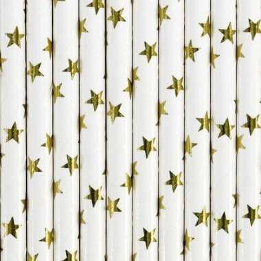 Papieren rietjes wit met gouden sterren 20 stuks