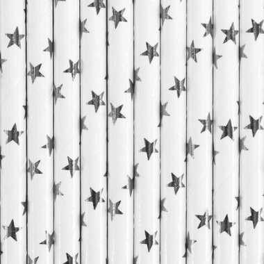Papieren rietjes wit met zilveren sterren 10 stuks